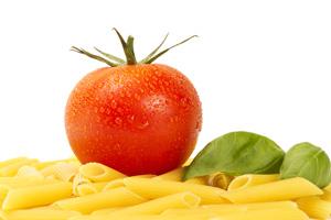 Penne pasta met cherry tomaten